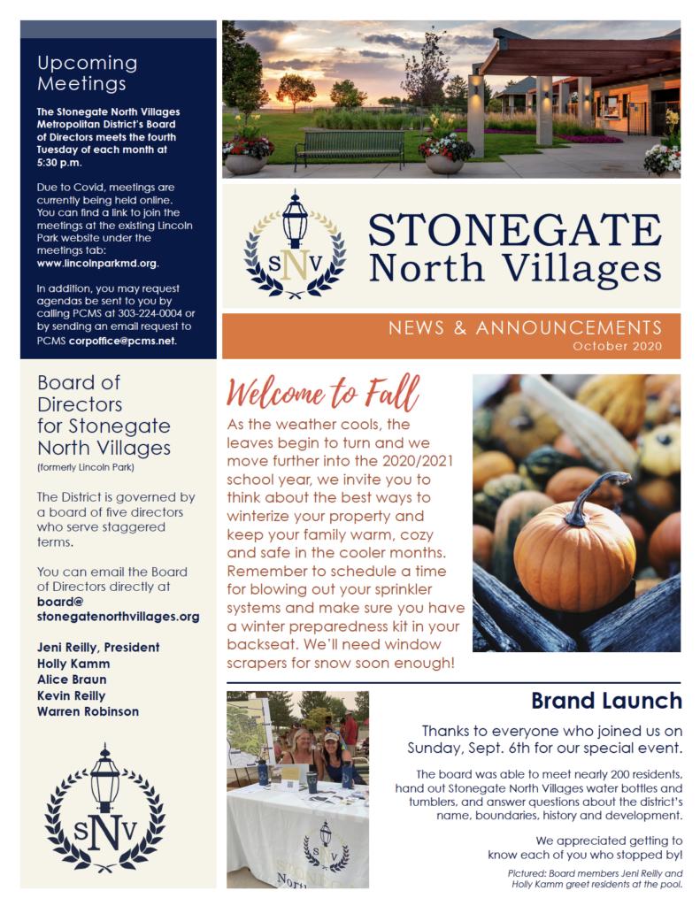 2020 October Newsletter - Stonegate Villages North